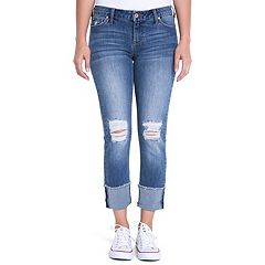 Juniors' Crave Ripped Cuff Ankle Skinny Jeans