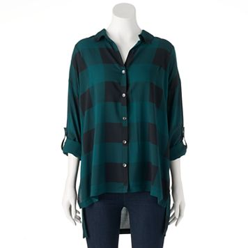 Women's Rock & Republic® Plaid High-Low Shirt