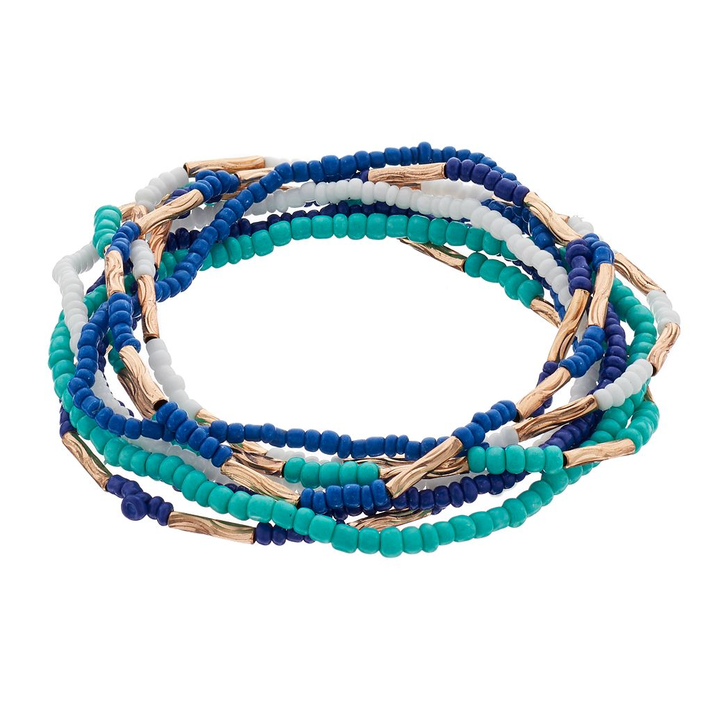 Blue Seed Bead Stretch Bracelet Set