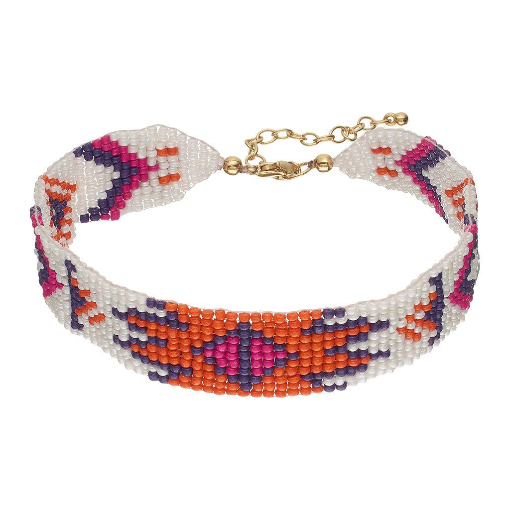 Orange Seed Bead Tribal Choker Necklace