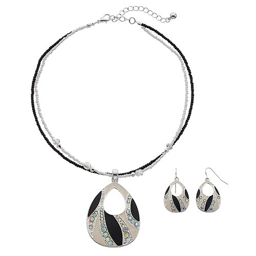 Cutout Teardrop Pendant Necklace & Earring Set