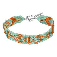 Aqua Seed Bead Tribal Choker Necklace