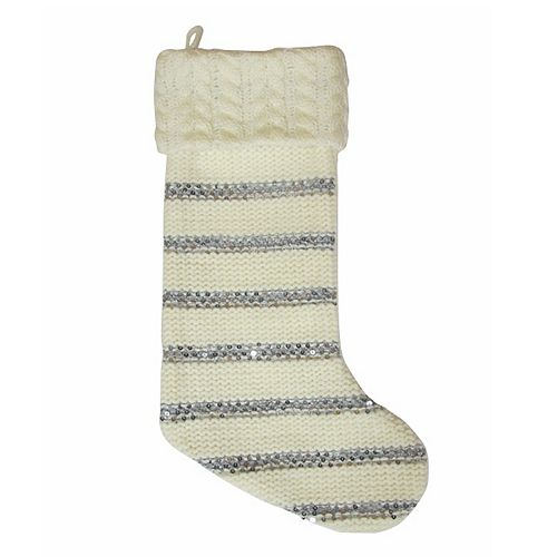 st nicholas square striped sequin christmas stocking - Striped Christmas Stockings