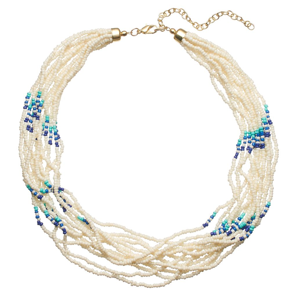 Blue Seed Bead Chunky Necklace