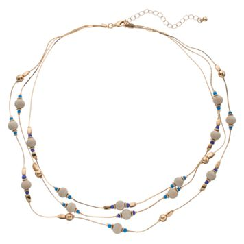 Wooden Bead Multi Strand Station Necklace