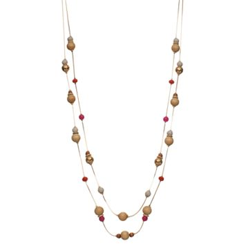 Long Wooden Bead Double Strand Station Necklace