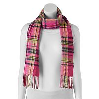 Softer Than Cashmere Chevron Plaid Fringed Oblong Scarf