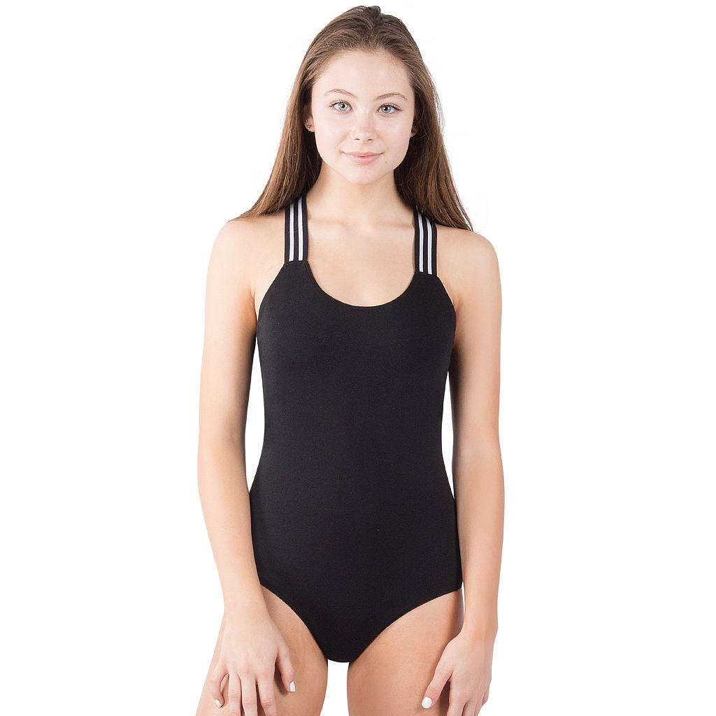 Juniors' Lemon & Bloom Sporty Stripe Bodysuit