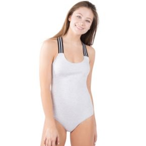 Juniors' Lemon & Bloom Sporty Stripe Bodysuit