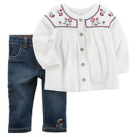 Baby Girl Carter's Floral Embroidered Top & Jeans Set