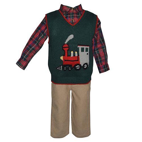 Baby Boy Blueberi Boulevard Train Sweater Vest, Plaid Shirt & Corduroy Pants Set