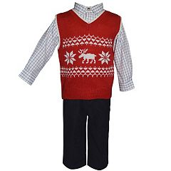 Baby Boy Blueberi Boulevard Moose Sweater Vest, Plaid Shirt & Corduroy Pants Set