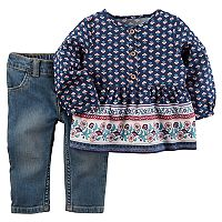 Baby Girl Carter's Floral Henley Top & Jeans Set