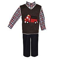 Baby Boy Blueberi Boulevard Fire Truck Sweater Vest, Plaid Shirt & Corduroy Pants Set