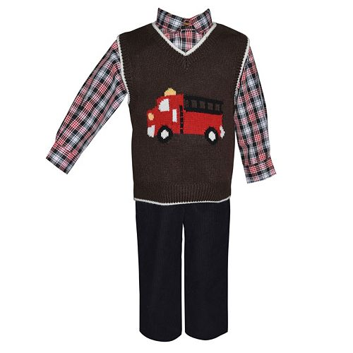 Baby Boy Blueberi Boulevard Fire Truck Sweater Vest, Plaid Shirt & Corduroy Pants Set