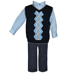 Baby Boy Blueberi Boulevard Argyle Sweater Vest, Striped Shirt & Corduroy Pants Set