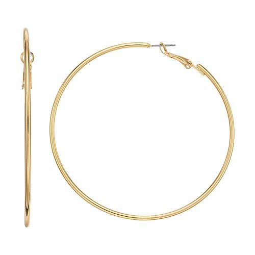 Gold Tone Tube Hoop Earring