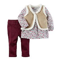 Baby Girl Carter's Floral Top, Faux-Suede Vest & Pants Set