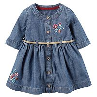 Baby Girl Carter's Floral Embroidered Chambray Dress
