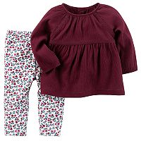 Baby Girl Carter's Shirred Top & Floral Leggings Set