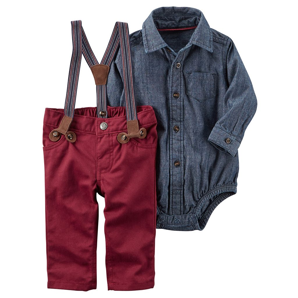 Baby Boy Carter's Chambray Bodysuit & Suspender Pants Set