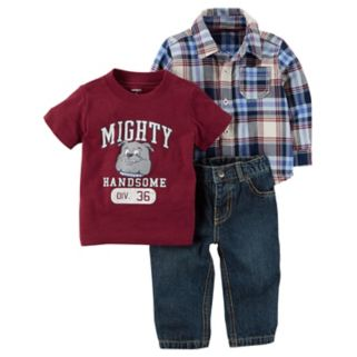 """Baby Boy Carter's """"Mighty Handsome"""" Tee, Plaid Shirt & Jeans Set"""