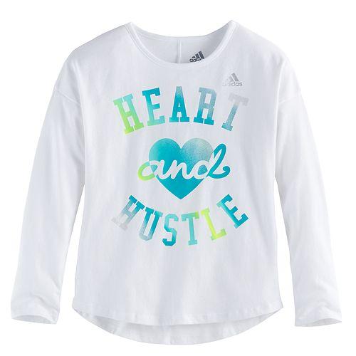 "Girls 4-6x adidas ""Heart & Hustle"" Long-Sleeved Tee"