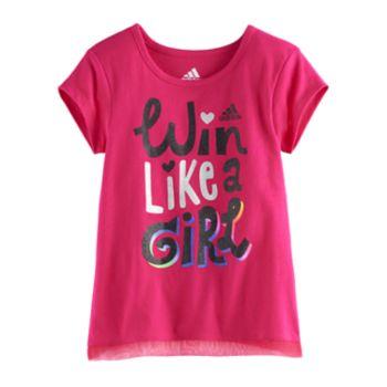 "Girls 4-6x adidas ""Win Like A Girl"" Criss-Cross Back Tee"
