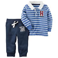 Baby Boy Carter's Striped Polo & Graphic Fleece Pants Set