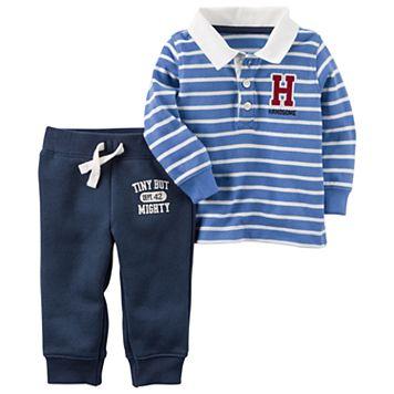 Baby Boy Carter's Striped Polo & Graphic Fleece Pants Set