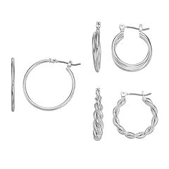Twisted & Crisscross Nickel Free Hoop Earring Set