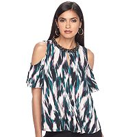 Women's Jennifer Lopez Beaded Neck Cold-Shoulder Top