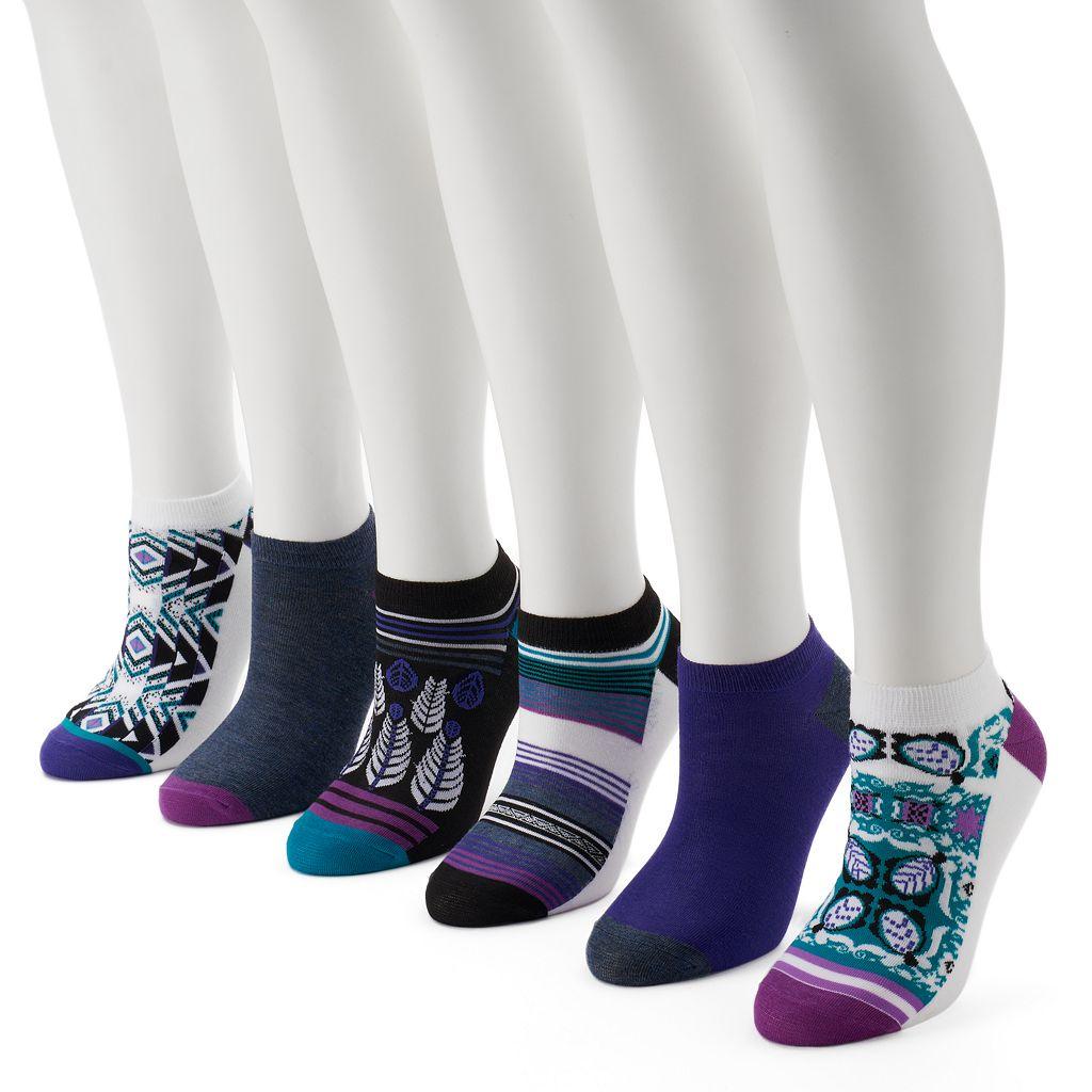 Women's 6-pk. Unionbay Geometric Flat Knit Low-Cut Socks