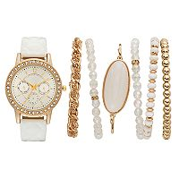 Women's Crystal Quilted Watch & Bracelet Set