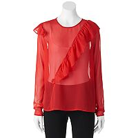 Juniors' Liv-On Ruffle Sheer Chiffon Top
