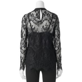 Juniors' Liv-On Embroidered Print Lace Top