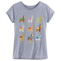Girls 7-16 Minecraft 9 Up Llamas Tee