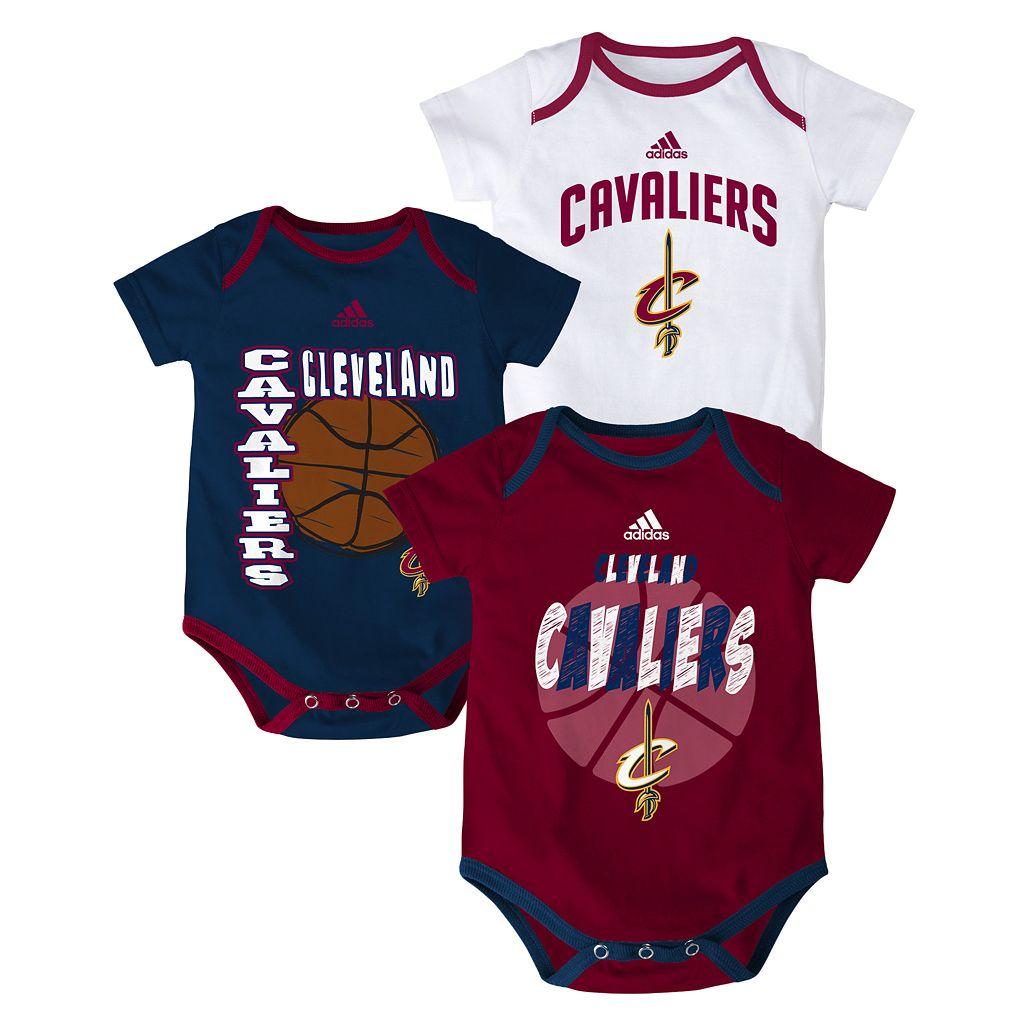 Baby adidas Cleveland Cavaliers 3-Pack Bodysuit Set