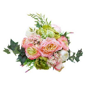 Darice Indoor / Outdoor 13-Stem Artificial Dahlia Rose Flower Arrangement
