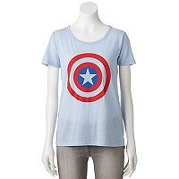 Juniors' Marvel Captain America Shield Graphic Tee