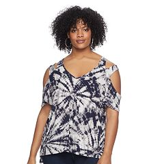 Plus Size Rock & Republic® Strappy Cold-Shoulder Tee