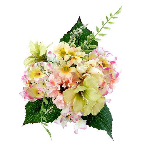 Darice Indoor Outdoor 7 Stem Artificial Pink Yellow Flower