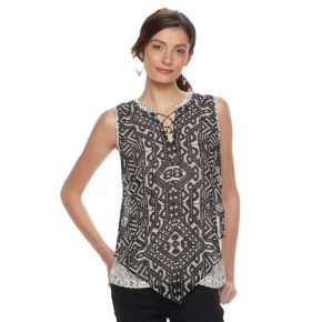 Women's Dana Buchman Lace-Up V Hem Tank