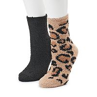 Women's SO® 2-pk. Cheetah Print Cozy Crew Slipper Socks