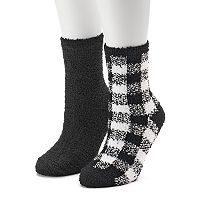Women's SO® 2-pk. Gingham Cozy Crew Slipper Socks