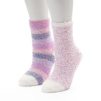 Women's SO® 2-pk. Marled Striped Cozy Crew Slipper Socks