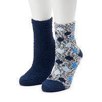 Women's SO® 2-pk. Marled Polka Dot Cozy Crew Slipper Socks