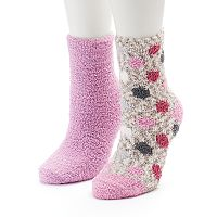 Women's SO® 2-pk. Marled Polka Dot Cozy Crew Slipper Socks