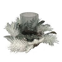 St. Nicholas Square® Artificial Pine & Eucalyptus Hurricane Candle Holder