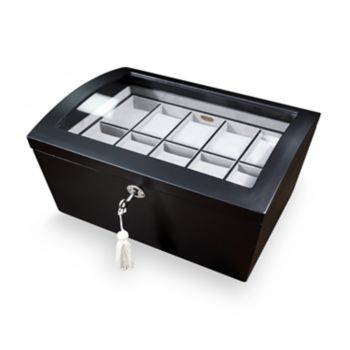 Mele & Co. Brenton Glass Top Wooden Watch Box
